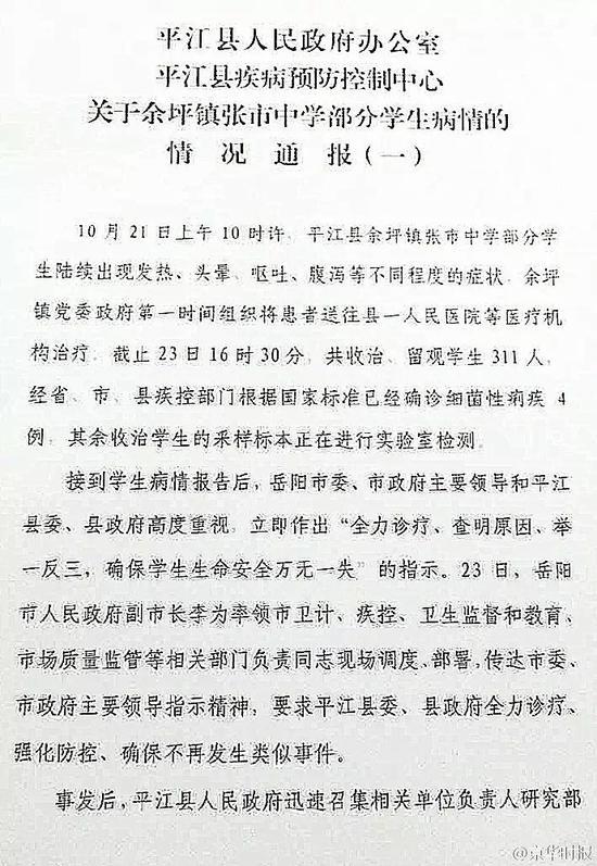关于余坪镇张市中学部分学生病情的情况通报