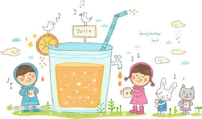 排队等水喝的儿童卡通素材图