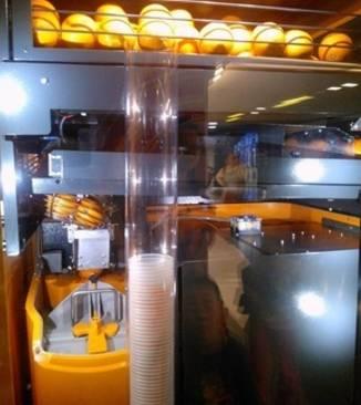 橙汁售货机的榨汁装置