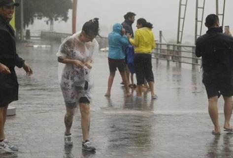 """台风""""天鸽""""中的行人"""
