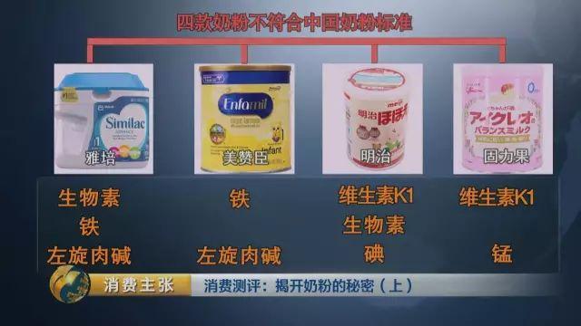 四款奶粉不符合中国奶粉标准