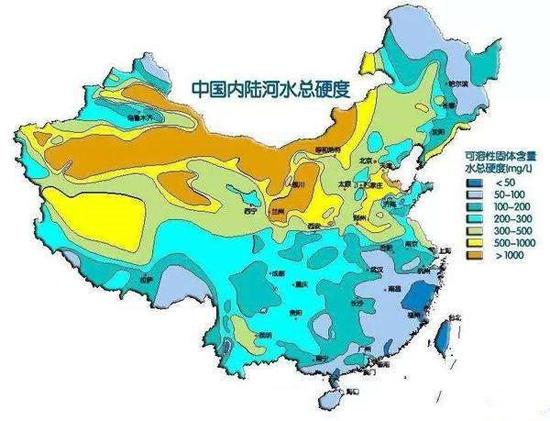 中国内陆河水总硬度